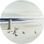 «Περιστέρια στην ακτή» ΙΙ Λάδι σε μουσαμά, διάμετρος 61εκ. (2008)
