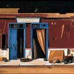 «Παντοπωλείο στο Μαρμάρι» (Ν.Εύβοια) Λάδι σε ξύλο και φύλλο χρυσού, 36Χ118 εκ. (1989)