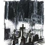 «Σχέδιο για έναν φανταστικό τάφο του Μαρσέλ Προύστ στο Γ΄Νεκροταφείο» Μελάνι σε χαρτί  30Χ21 εκ. (2010)