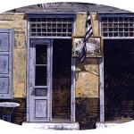 «Καφενείο στην Ύδρα» Λάδι σε ξύλο, 42,5Χ79 εκ. (1997) Εμπνευσμένο από φωτογραφία του αρχιτέκτονα Άρη Κωνσταντινίδη